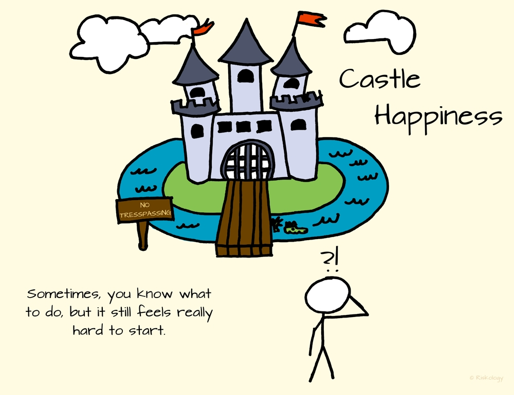 "We're all trying to gain access to ""Castle Happiness."" Sometimes, you know what to do to get in, but it still feels really hard to get started."